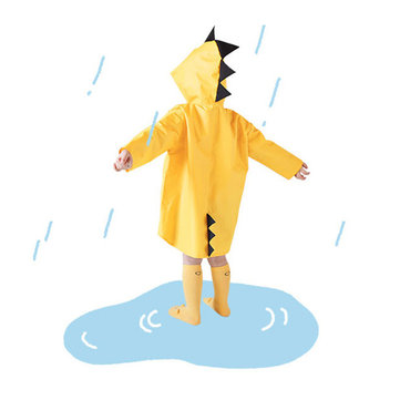 Cute Small Dinosaur Waterproof Polyester Rain Coat Boy Children Girls Windproof Poncho Kindergarten Student Baby Raincoat