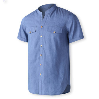 TWO-SIDED Mens Big Size Short Sleeve Loose Button Up Shirts