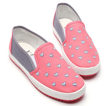 Women Korean Style Low Top Casual Heart-shaped Canvas Shoes Sneakers
