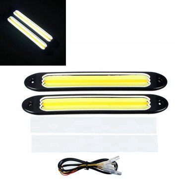 2pcs Waterproof LED Car White COB Daytime Running &Amber Turn Signal Light