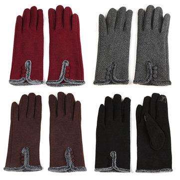 Women Female Cotoon Spandex Velvet Driving Screen Touch Gloves Plush Riding Mittens