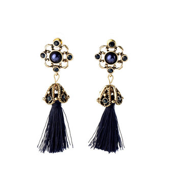 Women's Elegant Earrings Ethnic Hollow Flower Rhinestone Tassel Ear Stud Clothing Accessories
