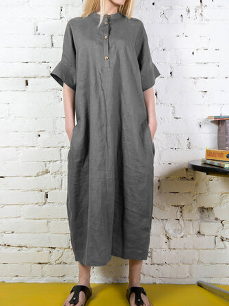 Women Short Sleeve Button Long Shirt Solid Color Maxi Dress
