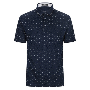 QIPAI Summer Leisure Polka Dot Printed POLO Shirt Business Casual Short Sleeve T-shirts