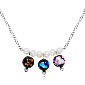 Sweet Bohemian Pearl Colorful Glaze Beads Pendant Necklaces