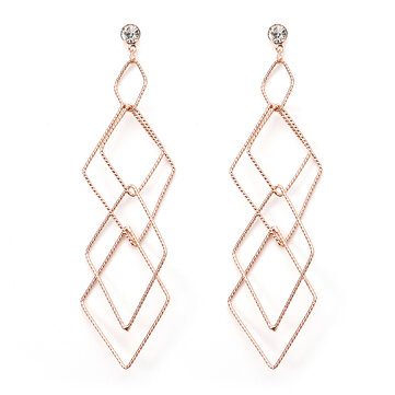 JASSY® Elegant Women Earrings Rose Gold and 18K Gold Plated Delicate Interlinked Rhombus Ear Stud