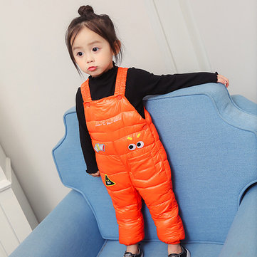 Cute Baby Kids Sleeveless Printed Cotton Padded Winter Jumpsuit
