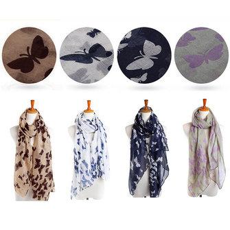 Womens Ladies Butterfly Pattern Print Large Soft Long Scarf Shawl Pashmina