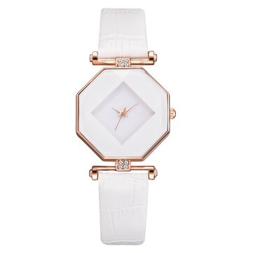 Fahion Diamond Mirror Leather Women Quartz Watch
