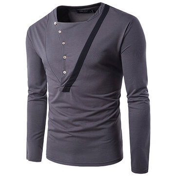 Retro Personality Buttons Half-cardigan T-shirt Men's Fashion Casual Lapel Long Sleeved Tees