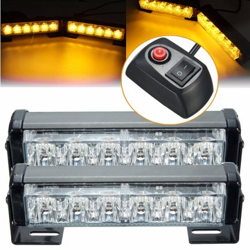 Pair 6 LED Amber Car Flashing Emergency Warning Light Strobe Lamp Switch Harness