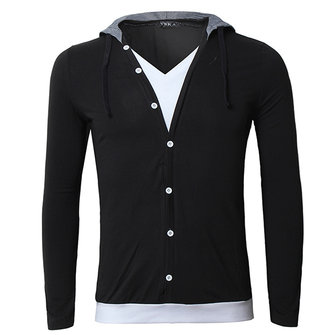 Mens Spring Fall Solid Color Long Sleeve Hooded Cardigan T-Shirt