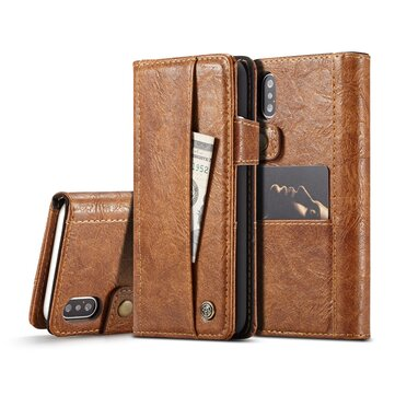 Caseme Vintage Wallet Card Slots PU Leather Case For iPhone X