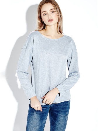 Women Sexy Backless Bandage Pure Color Long Sleeve T-shirts