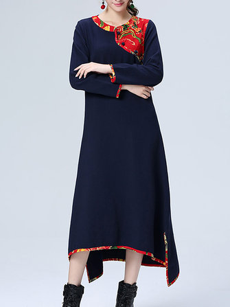 Ethnic Patchwork Long Sleeve Loose Women Cotton Maxi Dress