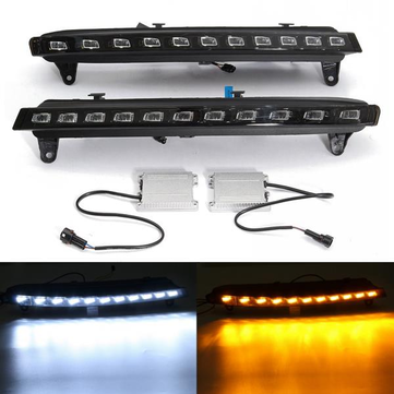 Pair LED Daytime Running DRL White Fog Light & Yellow Turn Signal Light For Audi Q7 07-09