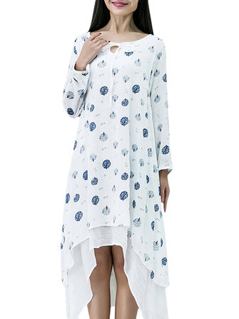 Vintage Women Printing Irregular Long Sleeve Fake Two Piece Loose Dress