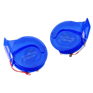 Pair 12V 110dB Universal Blue Super Loud Air Snail Horn For Car Van Motorcycle