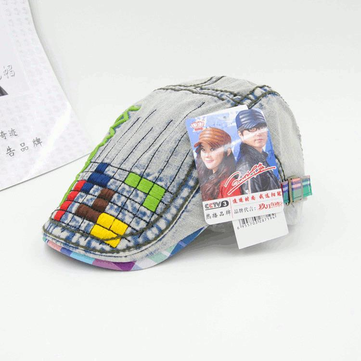 Lettera di bambini dei bambini del ricamo vintage colorato plaid Berretti Cappello piano casuale denim Berretti Cappelli