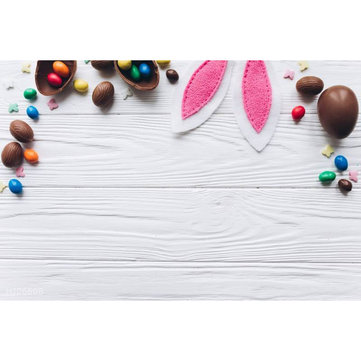 5x7ft/3x5ft Easter Egg Rabbit Ears Thin Vinyl Photography Backdrop Background Studio Photo Prop