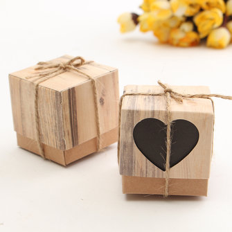 50Pcs Black Heart Rustic Kraft Candy Box Burlap Jute Chic Wedding Favor Party Gift Supplies