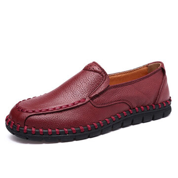 Leather Shoes Women Casual Slip On Soft Outdoor Flat Loafers