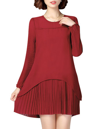 Casual Women Chiffon Pleated Long Sleeve Loose Dress