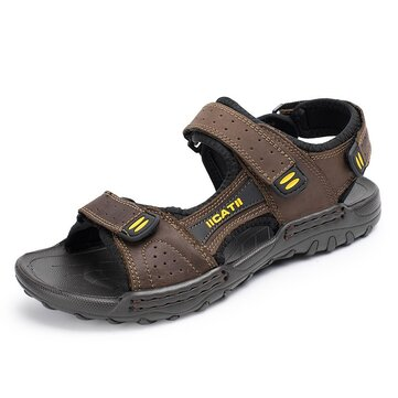 Men Soft Genuine Leather Seaside Beach Sandals