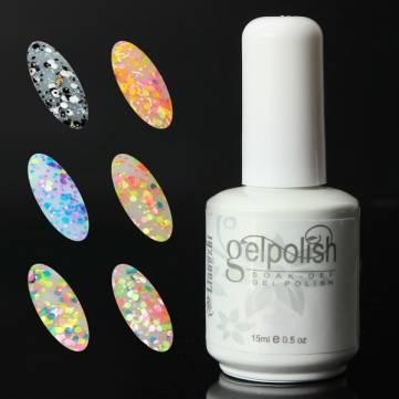 6 สี 15ml Soake Off Glitter UV Gel โปแลนด์
