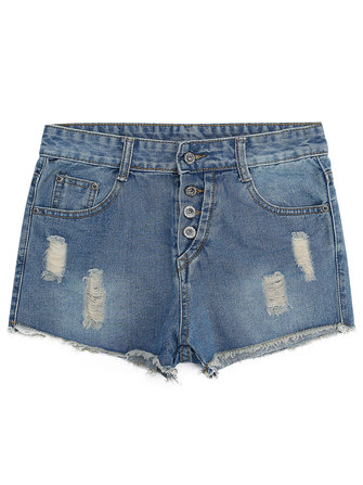 Casual Pocket Women Broken Hole Single Breasted Denim Shorts