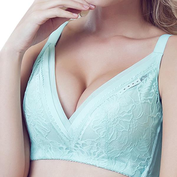 Adjustable Wireless Thin Gather Deep V Lace Embroidery Breathable Bra