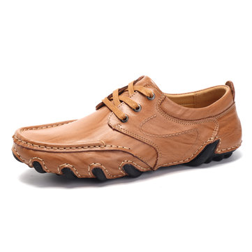 Men Comfy Genuine Leather Lace Up Flat Oxfords