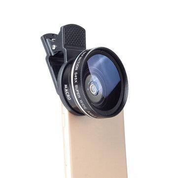 Bakeey 2 in 1 Klip 0.45X Süper Geniş Açı Makro Lens HD Kamera Cep Telefonu Tablet Için