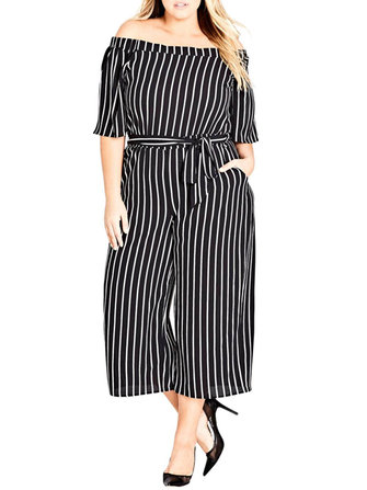Plus Size Women Off-Shoulder Striped Jumpsuit with Belt