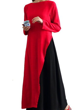 Elegant Color Contrast Patchwork Long Sleeve Fake-Two Piece Maxi Dress