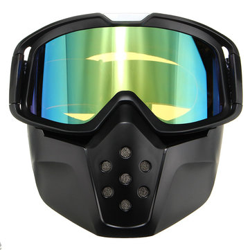 Motorcycle SKI Helmet Green Len Detachable Goggles Face Mask Shield Mouth Filter