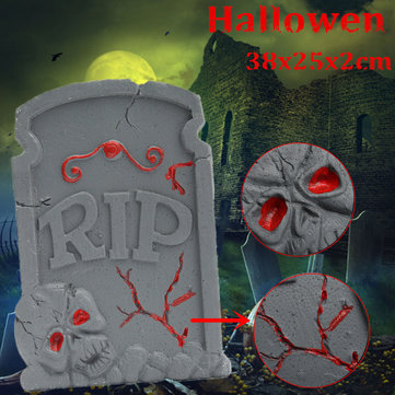 38x25cm Halloween Foam Skeleton Tombstone Haunted House RIP Stone Grisly Props Party Decor