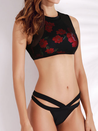 Women Mesh High Collar Soft Printed Swimwear Wireless Back Zipper Tankinis Sets