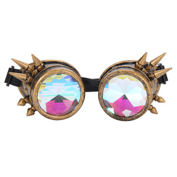 Unisex Retro Steampunk Goggles Spikey Costume Cosplay Gothic Punk Adults Motorcycle Glasses