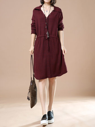 Women Drawstring Casual Dress