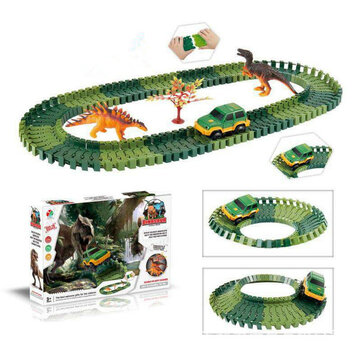 Over 100PCS DIY Assembling Building Dinosaur Track Electric Car Orbit Series Kids Christmas Gift Toy