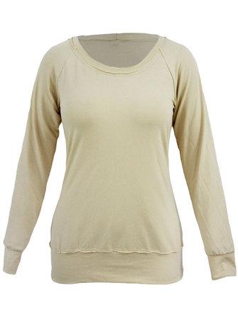Случайные чистый цвет вокруг шеи рукав реглан основная футболку женщина