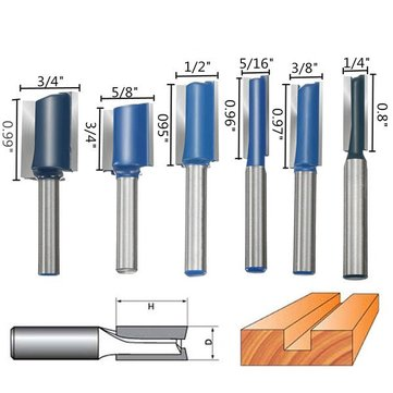 6pcs 1/4 Inch Shank Router Bit Set Woodworking Cutter
