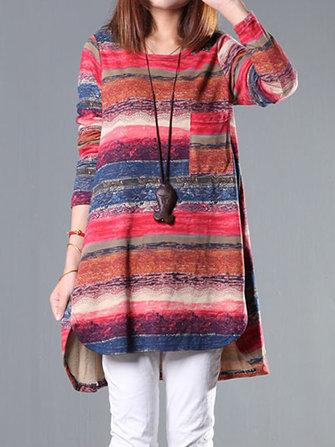 Vintage Stripe Printing Long Sleeve Loose Women Sweatshirt Dress