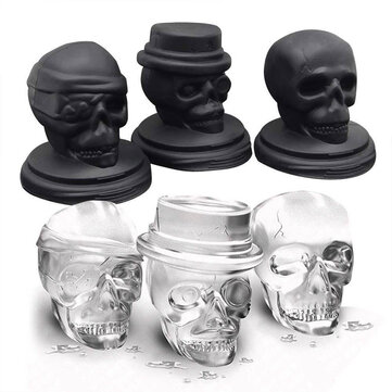 KCASA 3D Skull Ice Cube Tray Halloween Ice Mold Cocktiail Silicone Ice-cream Mold Maker Skull Shape Chocolate Mold Kitchen Tools Set Of 3