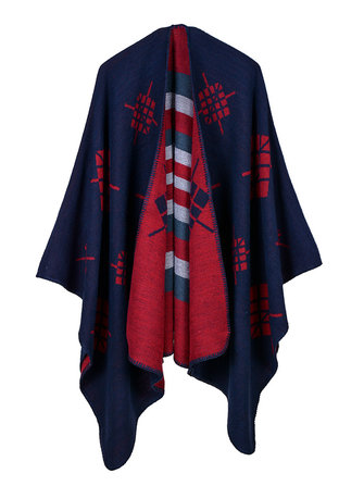 Women Geometric Print Shawl Wrap