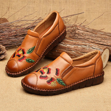 Women Leather Embroidered Soft Sole Vintage Flat Shoes