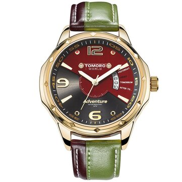TOMORO Brand TMR0214 Calendar Dual Colors Leather Men Quartz Casual Stylish Male Wrist Watch