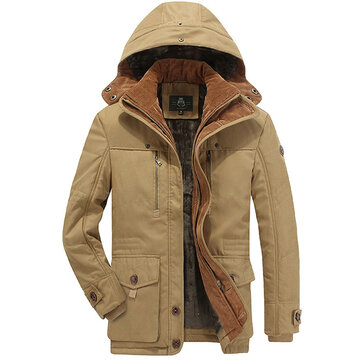 Mens Winter Thick Fleece Coat Hooded Outdoor Jacket