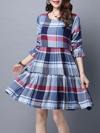 Casual Loose Plaid Long Sleeve Vintage Women Dress